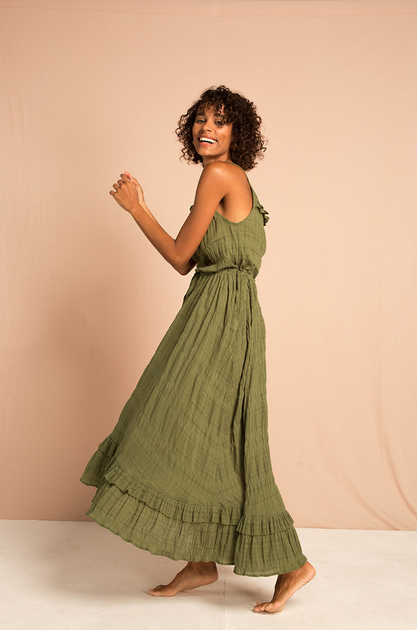 ORLEANS BAY Midi Dress - khaki cotton