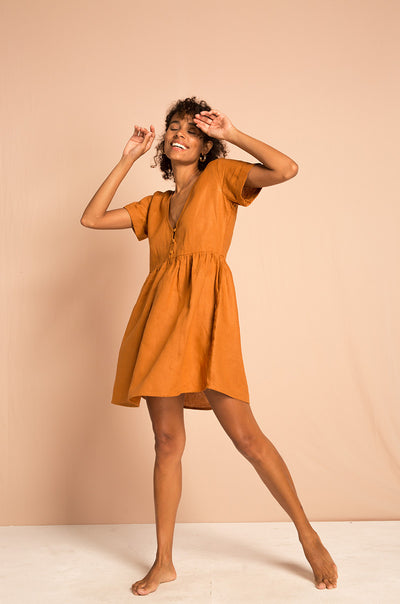 SUNCHASER Dress - ochre linen