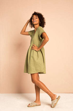 SUNCHASER Dress - light khaki linen