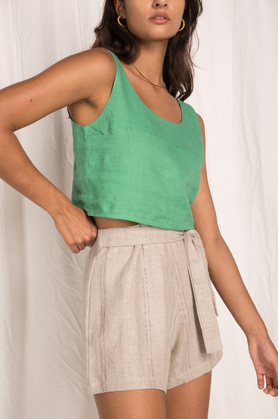 MALLORCA Top - sea green linen