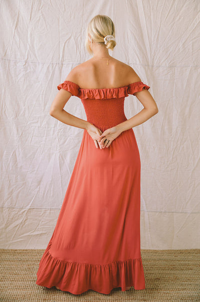 UDAIPUR Dress - dark coral