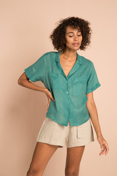 SAFARI Shirt - atlantis green linen