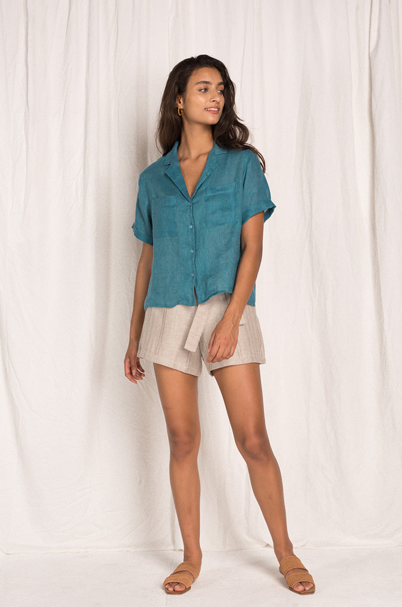 SAFARI Shirt - teal linen