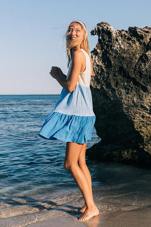 SUNSET Dress - ocean hues cotton