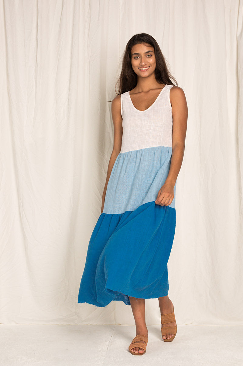 GREVILLEA Dress - ocean hues cotton