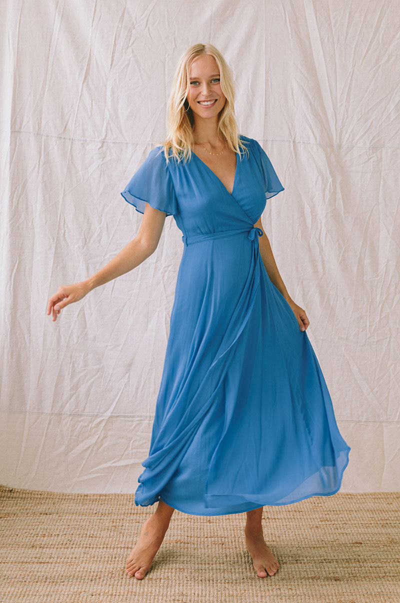 ZEPHYR Midi Dress - ocean blue