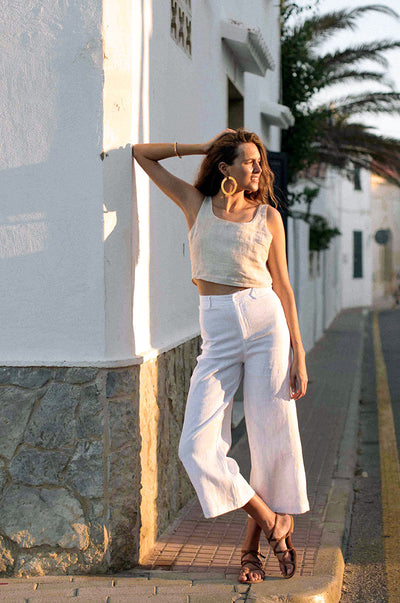 RHODES Pants - white linen