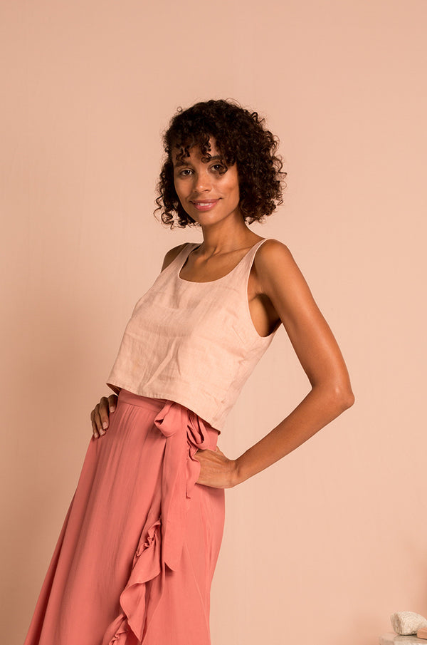 MALLORCA Top - rose linen