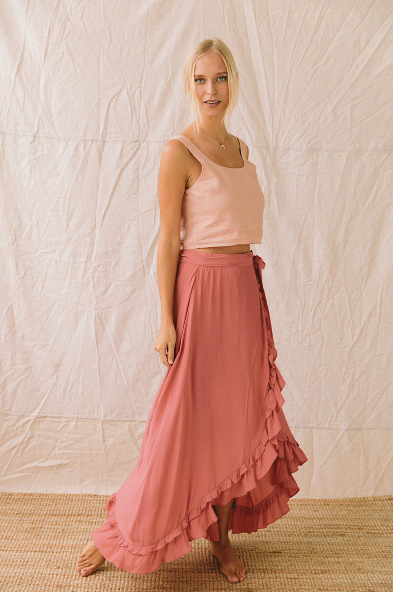 LAGOON Wrap Skirt - dark blush
