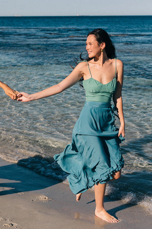 LAGOON Wrap Skirt - teal