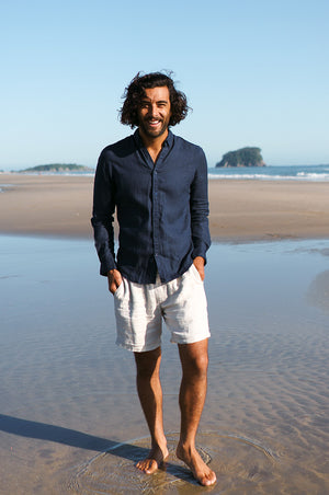 MEN'S LINEN Shirt - navy