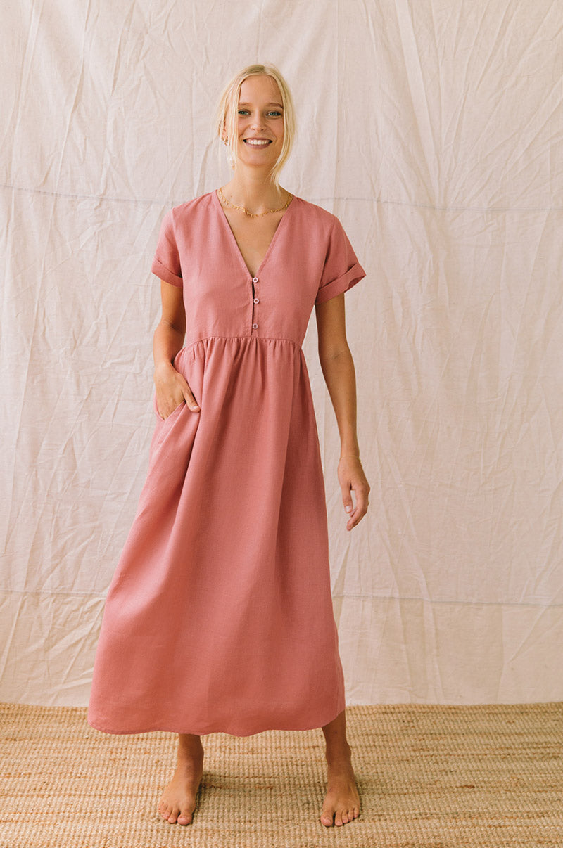 SUNSEEKER Midi Dress - dark blush linen
