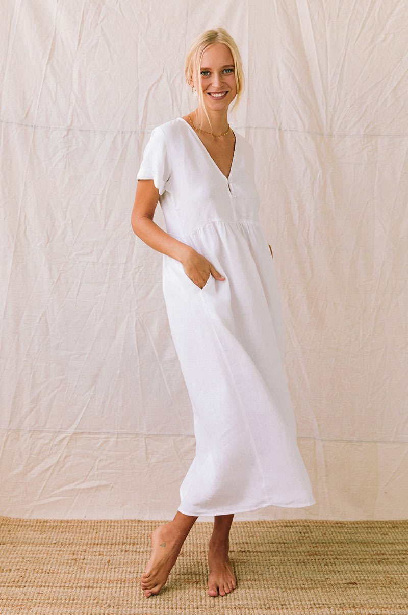 SUNSEEKER Midi Dress - white linen