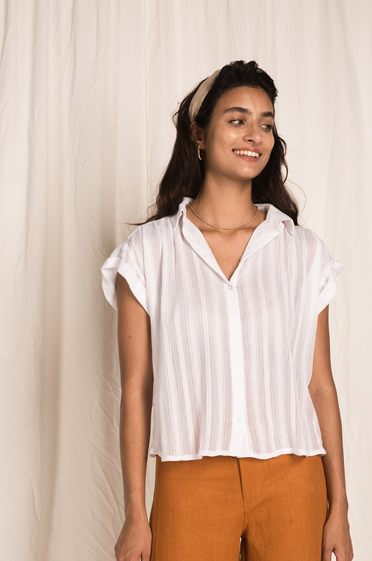 MYKONOS shirt - white cotton