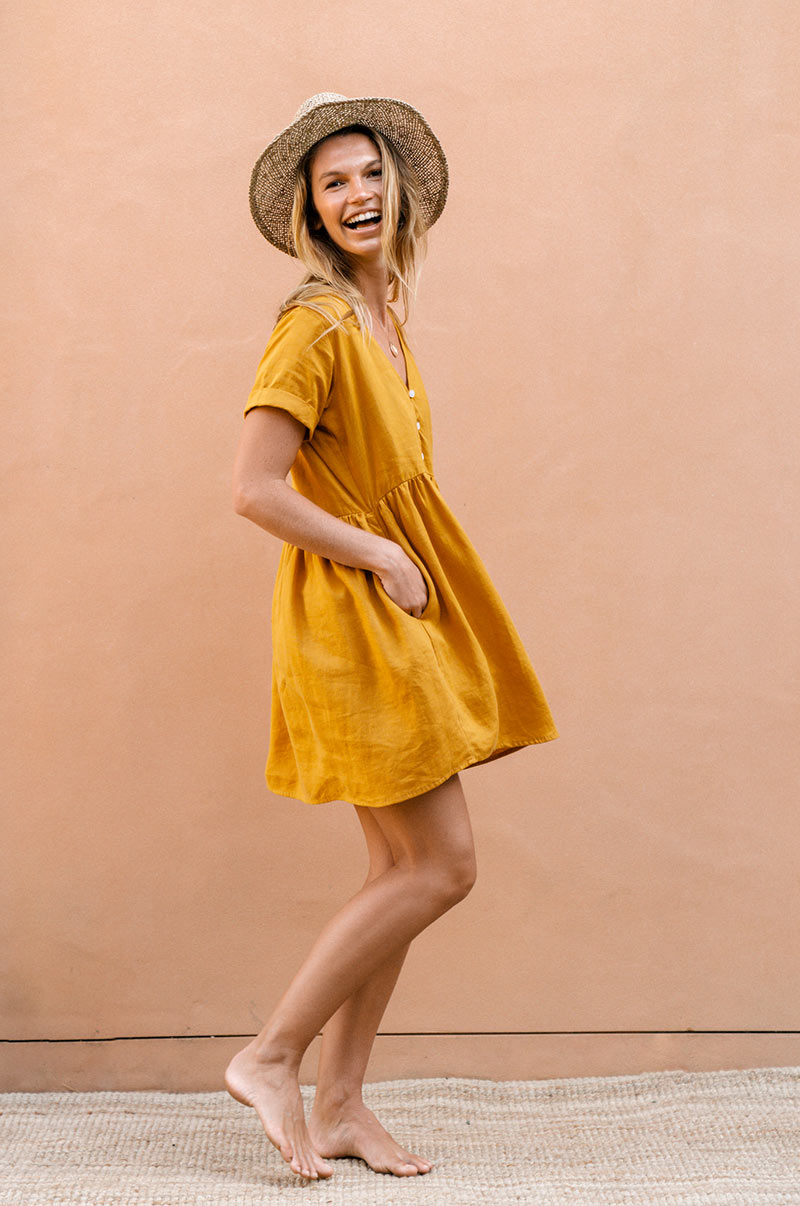 SUNCHASER Dress - turmeric linen