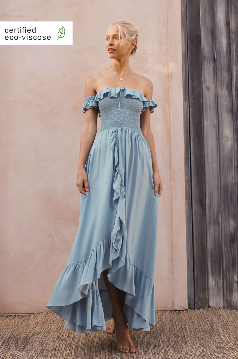 UDAIPUR Dress - dusty blue ecovero