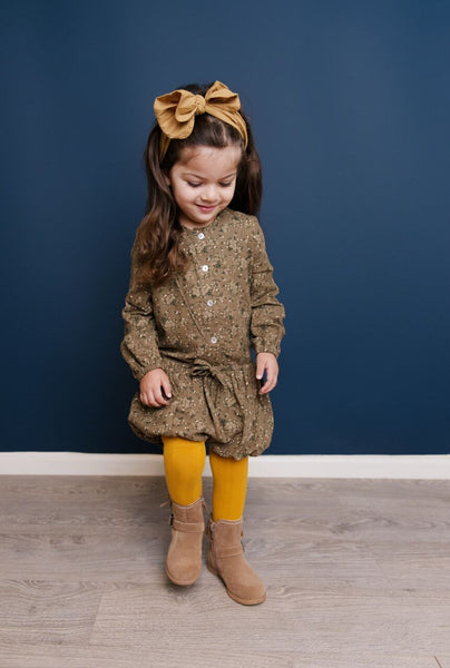DAISY & MOOSE MUSTARD CABLE KNIT TIGHTS