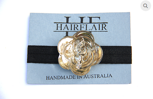 HAIR FLAIR GLAM TIE - CHAMPAGNE CRYSTAL FLOWER