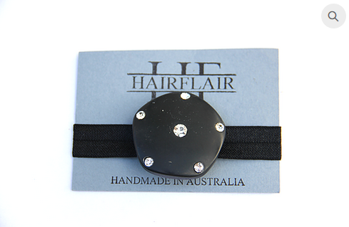 HAIR FLAIR GLAM TIE - ORGANIC BLACK RHINESTONE