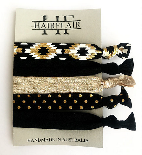 HAIRFLAIR PATTERN TIES - BLACK & GOLD SELECTION