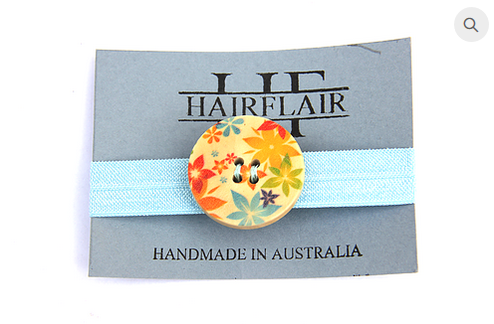 Hair Flair Wooden Tie - Autumn Blue