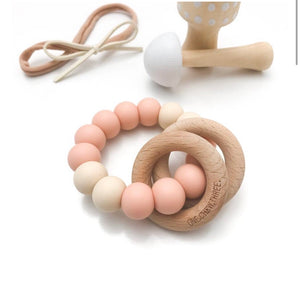One Chew Three Rattle Teether - Pale Pink