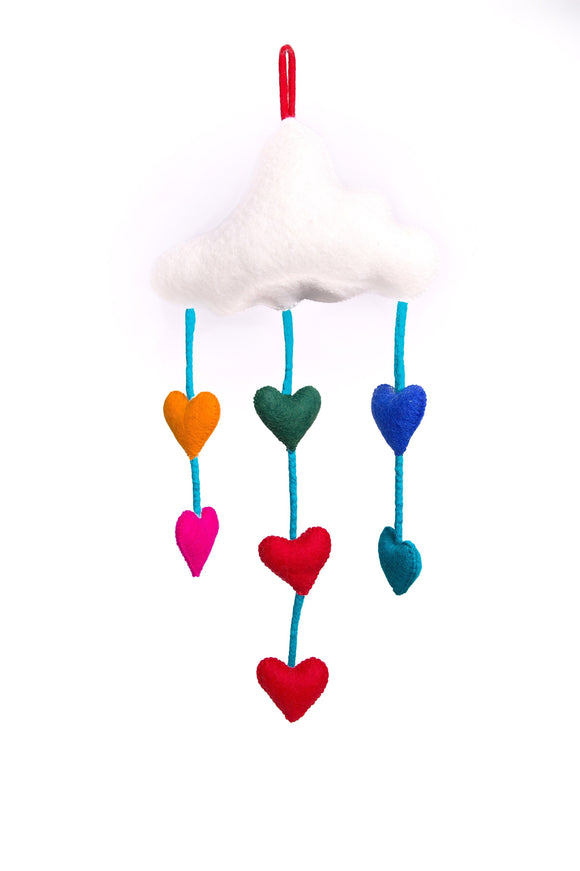 Felt Cloud Mobile with Heart drops