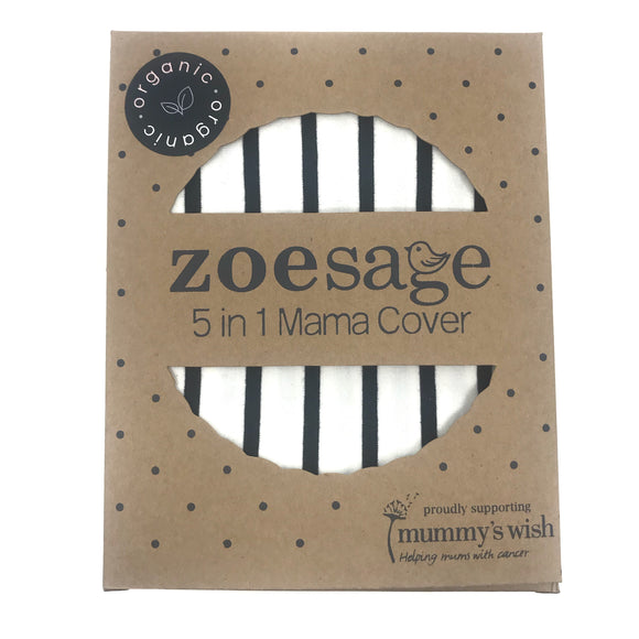 Zoe Sage 5 in 1 Mama Cover - Ebony Ivory Stripe