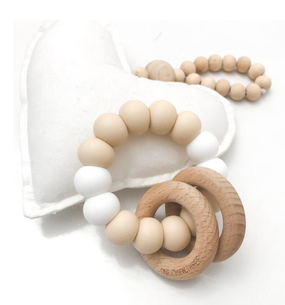 Rattle- Silicone and Wood Teether
