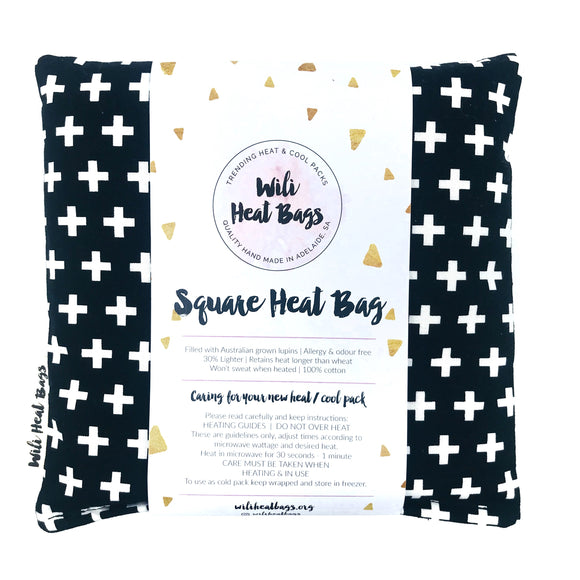 Black and White Crosses Square Heat Bag
