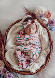 Pansy Heart- Snuggle Swaddle and Topknot