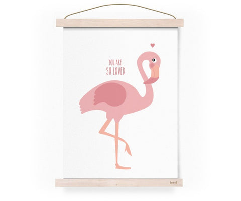 EEF LILLEMOR YOU ARE SO LOVED FLAMINGO PRINT A3