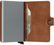 Load image into Gallery viewer, Miniwallet Vintage Cognac-Silver