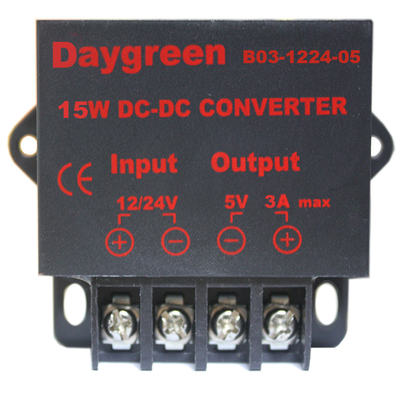 12V/24V to 5V 3A 15W DC DC Step Down Converter Voltage Regulator Smaller Type