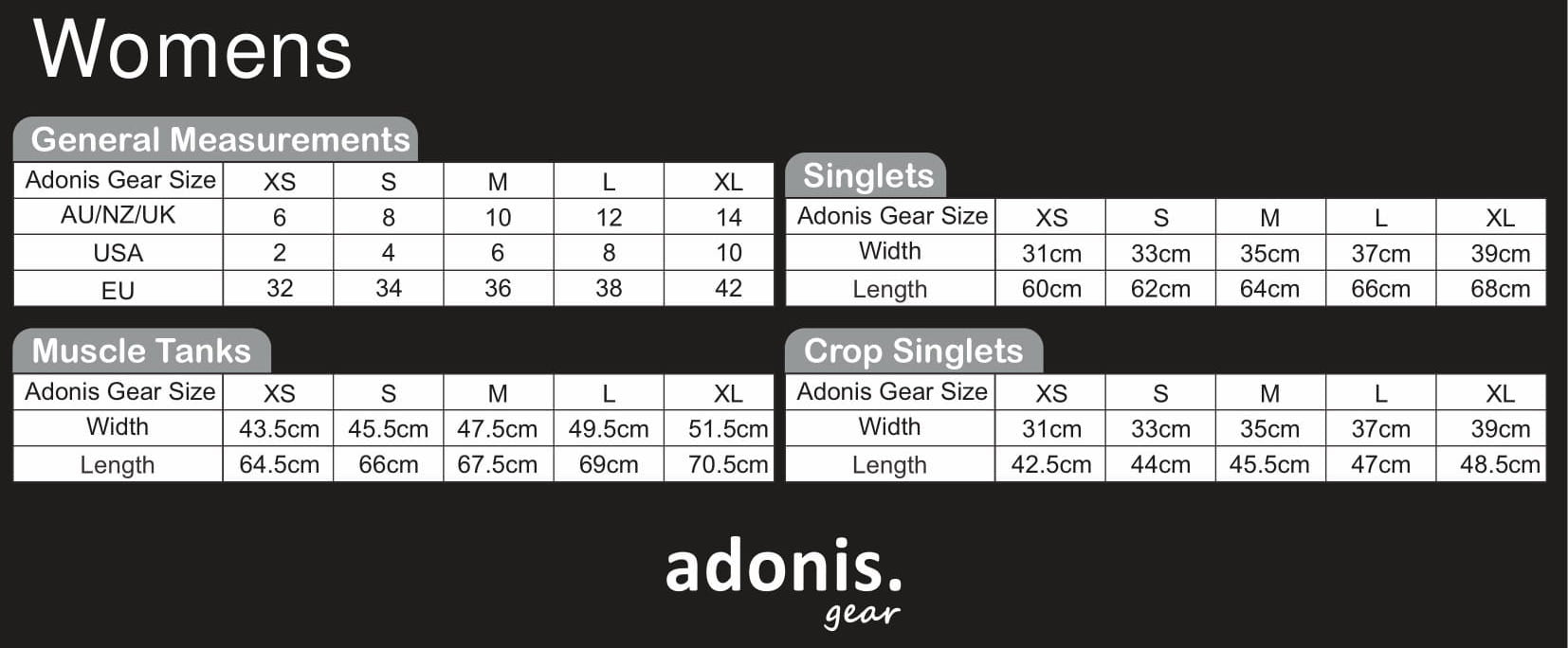 Adonis.Gear | Size Guide Women | Australia