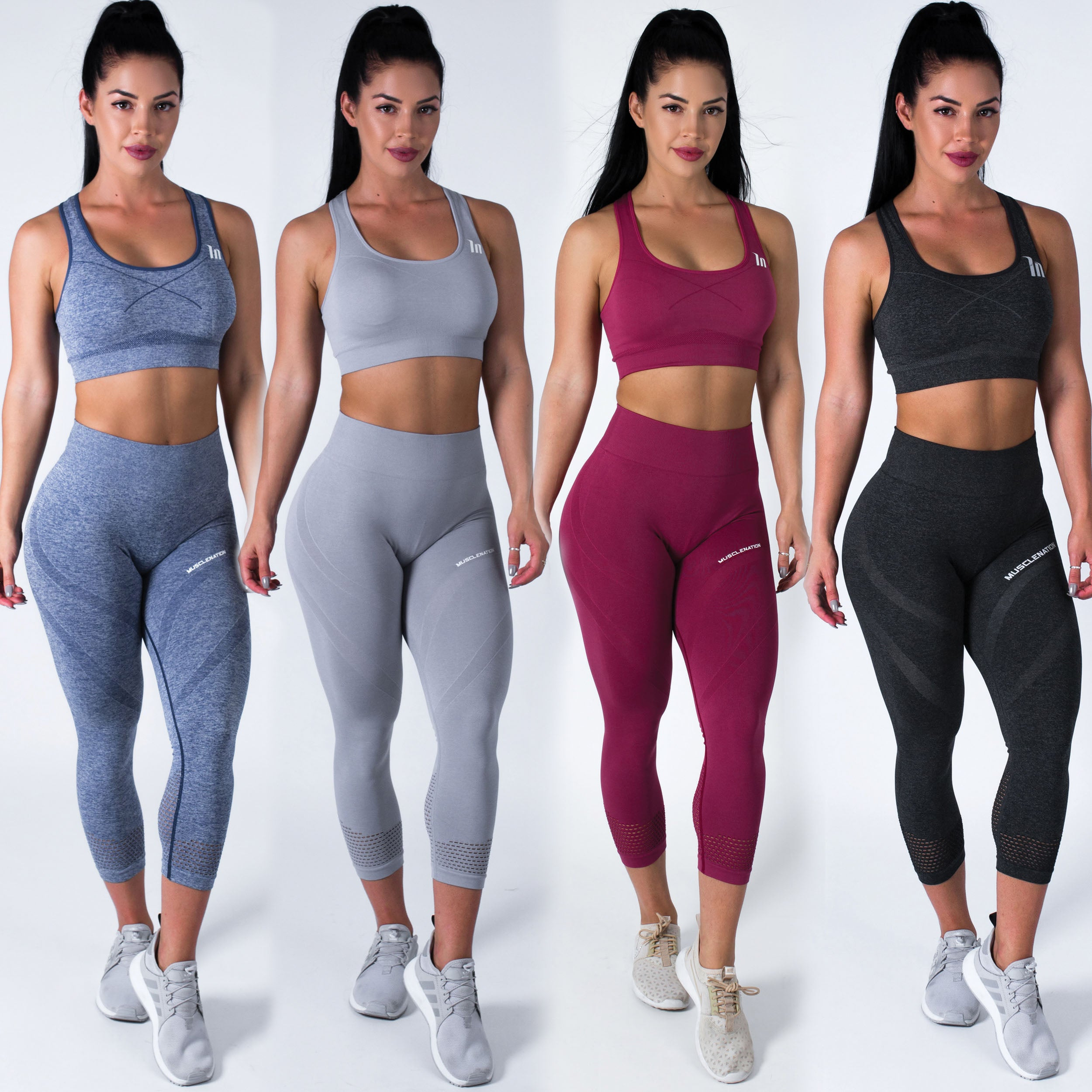 Muscle Nation | MVMNT LMTD | Seamless High Waist 7/8 Leggings – CHARCOAL BLACK | Australia