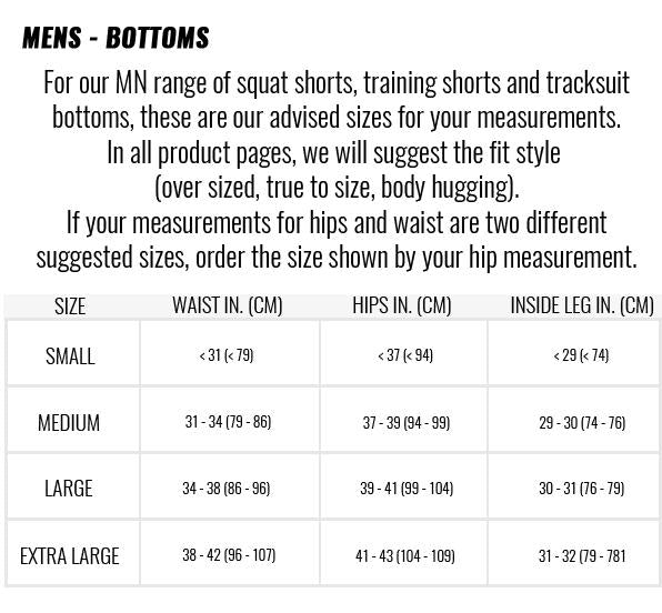 Muscle Nation | Size Guide - MENS BOTTOMS | MVMNT LMTD