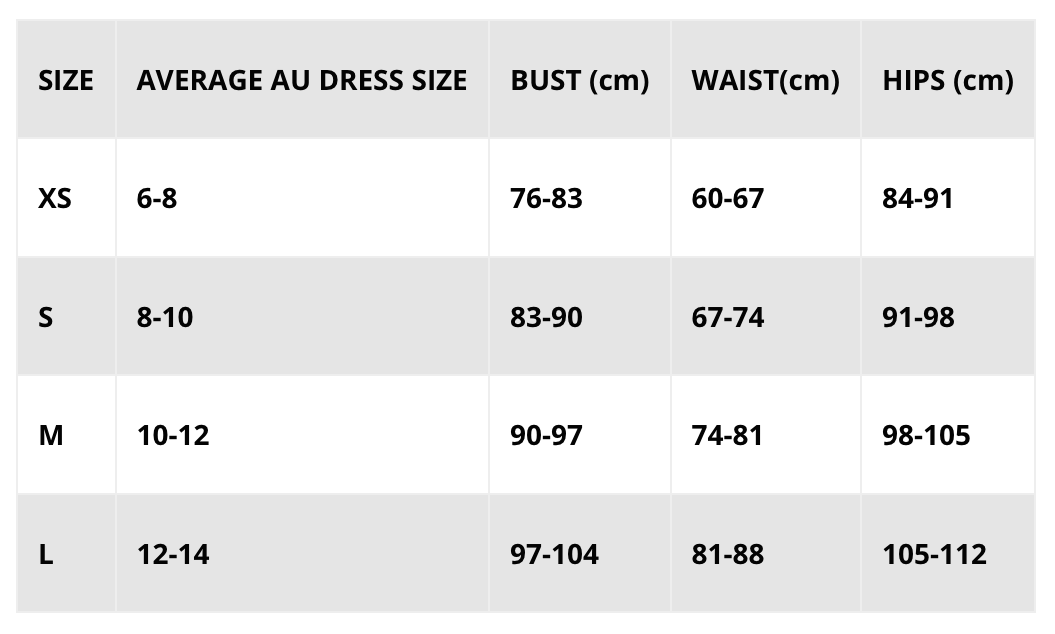 Muscle Republic | MVMNT LMTD | Sizing Guide | Australia