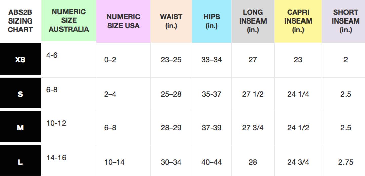 ASB2B Fitness Apparel Sizing Chart