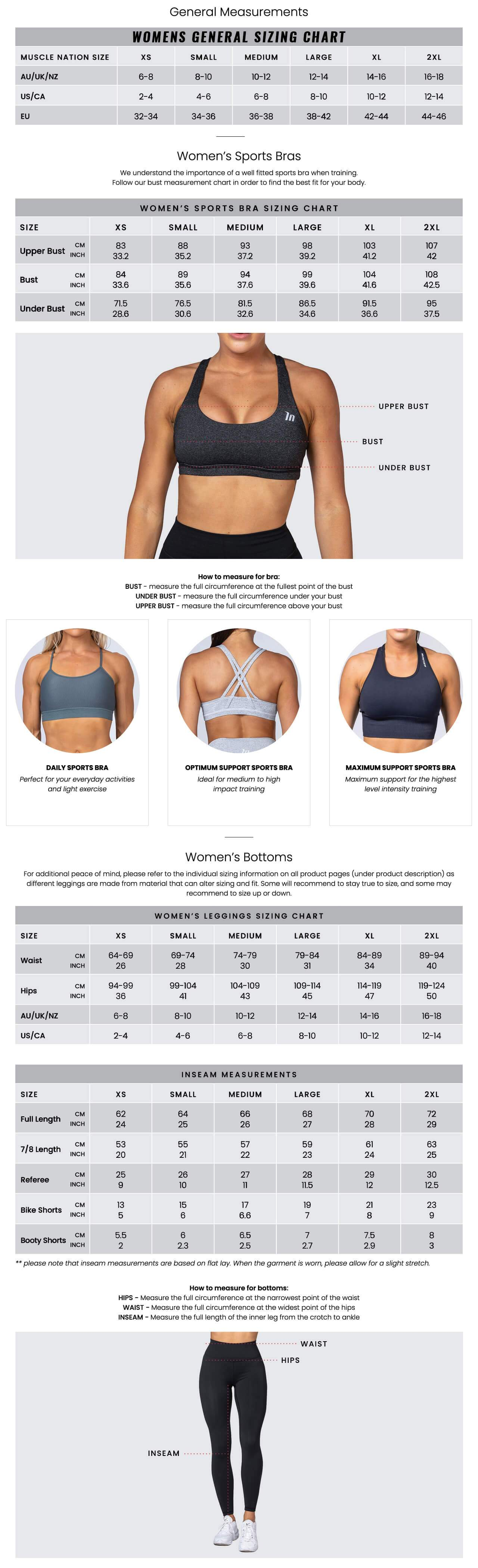 Muscle Nation Women's Size Guide