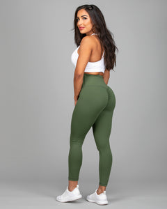 ABS2B Fitness Apparel | Marilyn Munroe Waistband | Army Green Scrunch Booty Tights