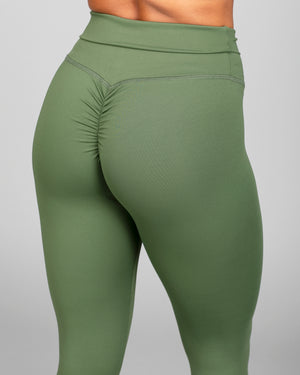ABS2B Fitness Apparel | MVMNT LMTD | 7/8's High Waist Scrunch Booty Tights – Army Green | Australia