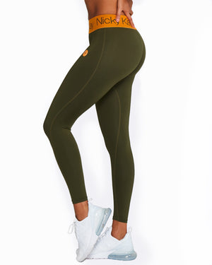 Nicky Kay | MVMNT LMTD | FitGlam Compression Tights: Khaki w/ Orange Waistband | Australia