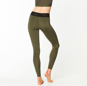 Nicky Kay | MVMNT LMTD | FitGlam Compression Tights: Khaki w/ Black Waistband | Australia