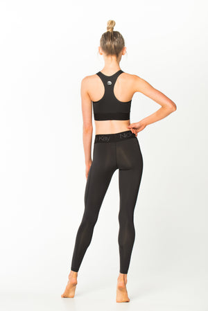 Nicky Kay | MVMNT LMTD | FitGlam Compression Tights: Black w/ Black Waistband | Australia