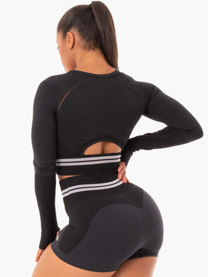Ryderwear | Freestyle Seamless Long Sleeve Crop - Black | MVMNT LMTD