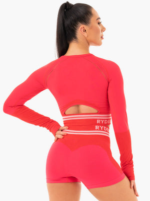 Ryderwear | Freestyle Seamless Long Sleeve Crop - Red | MVMNT LMTD