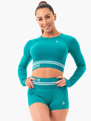 Ryderwear | Freestyle Seamless Long Sleeve Crop - Teal | MVMNT LMTD