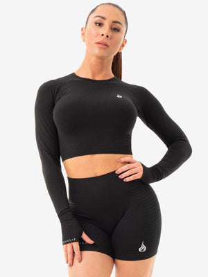 Ryderwear | Geo Seamless Long Sleeve Crop Top - Black | MVMNT LMTD
