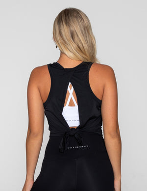 Muscle Republic | Luxe Tie Back Tank - Black | MVMNT LMTD